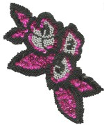 8 5/8'' by 5'' Fuchsia/Black/White Beaded & Sequined Applique8 5/8'' by 5'' Fuchsia/Black/White Beaded & Sequined Applique