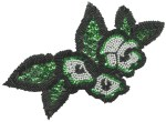 8 3/4'' by 6 5/8'' Emerald Green Sequins with Black & White Beads Applique8 3/4'' by 6 5/8'' Emerald Green Sequins with Black & White Beads Applique