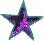 3 1/2'' - 8.9cm Turquoise/Purple Beaded & Sequined Applique3 1/2'' - 8.9cm Turquoise/Purple Beaded & Sequined Applique