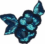 5'' by 4 1/4'' Turquoise with Black Beads Applique5'' by 4 1/4'' Turquoise with Black Beads Applique