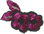 5'' by 3'' Fuchsia Sequins with Black/Silver Beads Applique5'' by 3'' Fuchsia Sequins with Black/Silver Beads Applique