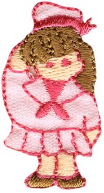 1 5/8'' by 7/8'' Iron On Little Girl Applique1 5/8'' by 7/8'' Iron On Little Girl Applique