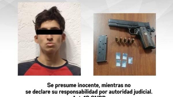 Detienen en Zacatepec a joven de 18 años que portaba una pistola y cinco dosis de cristal