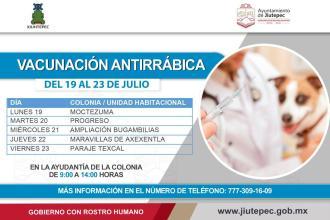 Campaña de vacunación antirrábica para animales de compañía se lleva a cabo en el municipio de Jiutepec