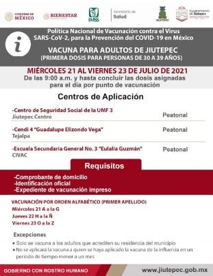 Vacunación contra Covid-19 en Jiutepec. Personas de 30 a 39 años