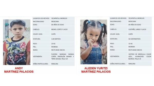 Se activa alerta AMBER por la desaparición de 2 menores de 6 y 4 años en Yecapixtla - Morelos