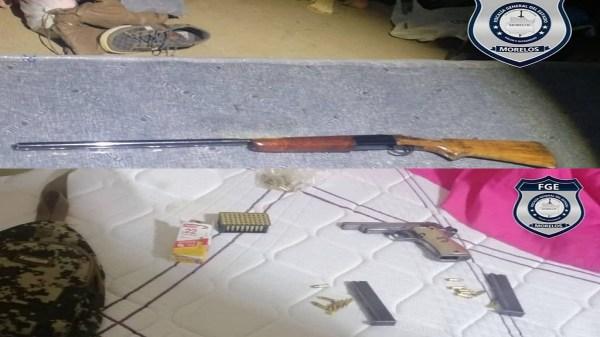Ocuituco - Aseguran en presunta casa de seguridad del nororiente de Morelos armas de fuego, prendas camufladas de la Guardia Nacional y drogas