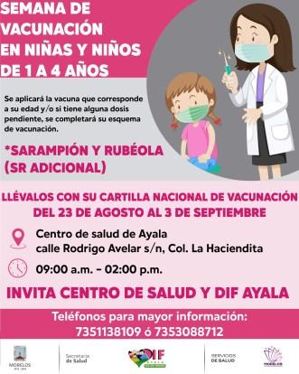 Campaña de vacunación contra sarampión y rubéola para niños de uno a cuatro años en el municipio de Ayala