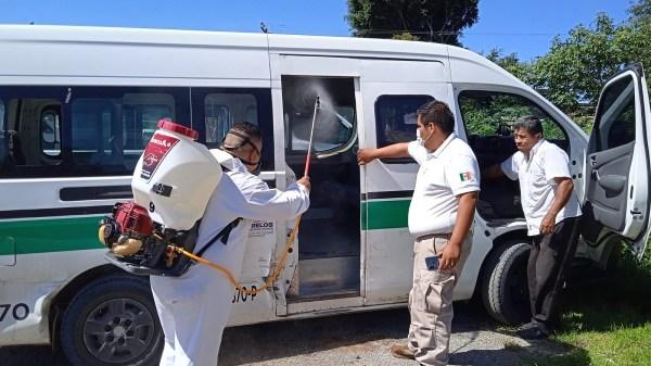 Jornadas de desinfección de unidades de transporte público continúan llevándose a cabo en distintos municipios de Morelos