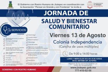 """Programa """"Jornada de salud y bienestar comunitario"""" se implementa en Jiutepec"""