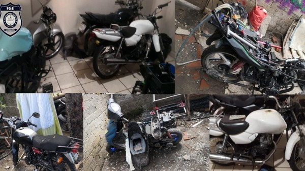 FGE detiene a cuatro hombres y una mujer menor de edad por el robo de 11 motocicletas en Jiutepec. Además tenían en posesión un arma de fuego y drogas