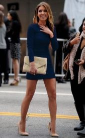 nude pumps and navy dress