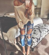 nude pumps and torn jeans