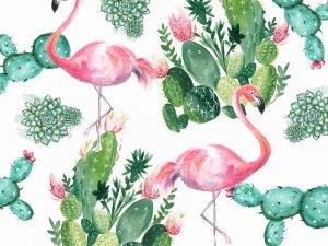 Flamingo and cactus painted cake smash photo backdrop