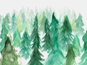 Painted watercolor forest cake smash photo backdrop