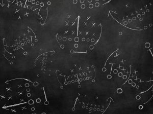 Football plays on chalkboard photo backdrop