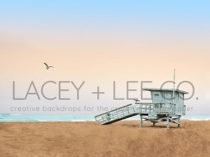 LIfeguard Stand on beach Photography Backdrop