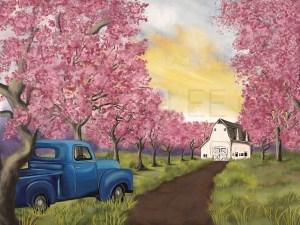 Springtime Farm with Blue Truck Photo Backdrop