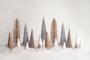 Gold and silver sparkle trees photo backdrop