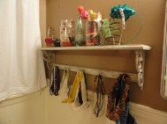 I searched and searched and SEARCHED the internet for ways to store headbands and just didn't like anything I found. Then I found this beauty at Canton. Mason jars to hold head scarves and random accessories, hooks for headbands I wear often and bed springs from an antique shop for clips and plastic headbands.