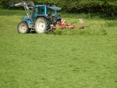 Après la faucheuse: la faneuse, afin d'éparpiller l'herbe pour qu'elle sèche de manière homogène.