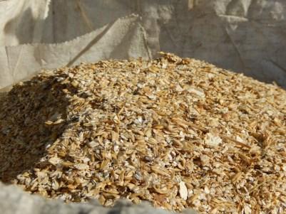 Il me reste pas mal de mélange céréalier récolté en 2015. Le camion usine vient régulièrement pour aplatir les grains avant la distribution à l'auge.