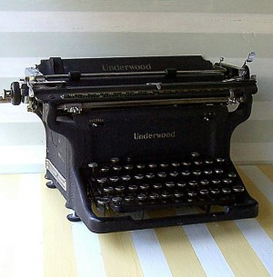 A 1939 Underwood Typewriter found on etsy.com https://www.etsy.com/listing/82465142/vintage-typewriter-1939-underwood-master
