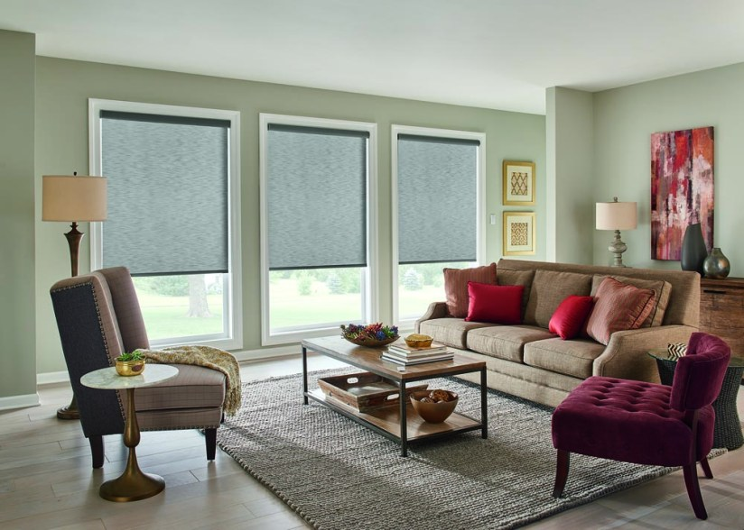 Roller Shades with Motorized Lift: Harmony, Cityscape 02601 with Cassette Valance Graber Roller Harmony Cityscape (32-0260-01)