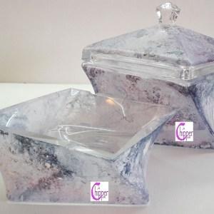 scatola e posacenere marmorizzati www.lachipper.com
