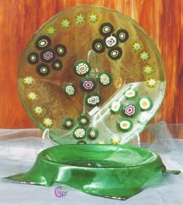 piatti in vetro di Murano con murene
