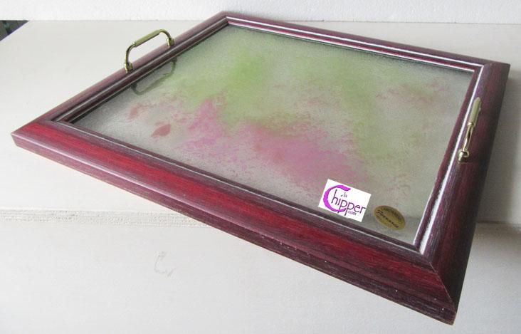 Vassoi In Legno Con Vetro : Vassoio graniglia vetro rosa e cornice legno lachipper.com