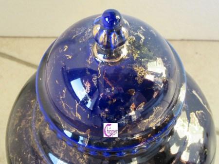 coperchio di vaso ceramica blu e oro www.lachipper.com