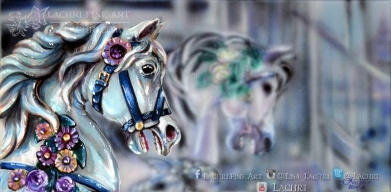 carousel horse acrylic painting