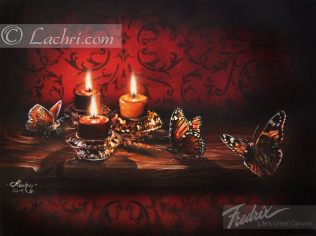 candles and butterfly acrylic painting