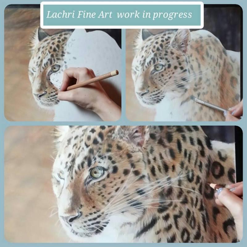 leopard in colored pencil