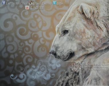 Polar bear colored pencil over an airbrushed background