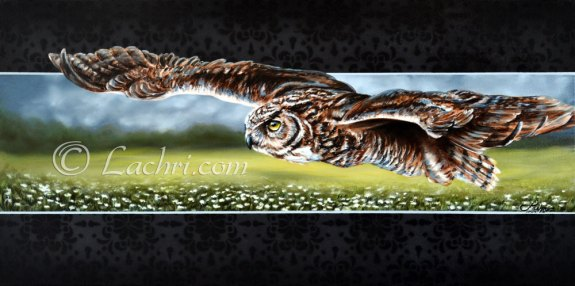 Great horned owl in flight oil over acrylic painting