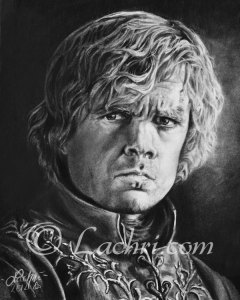 Tyrion Lannister, Peter Dinklage portrait drawing in graphite and carbon pencil