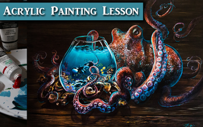 Surreal Octopus Acrylic Painting