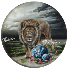 """the art of war"" oil over acrylic surreal lion painting"