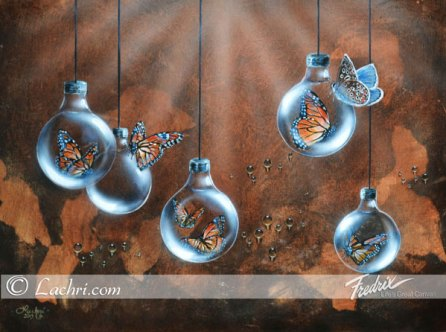 Surreal butterfly and light bulb acrylic painting