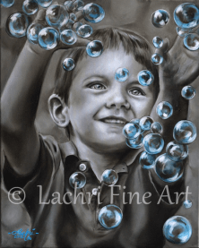 little boy and bubbles oil painting