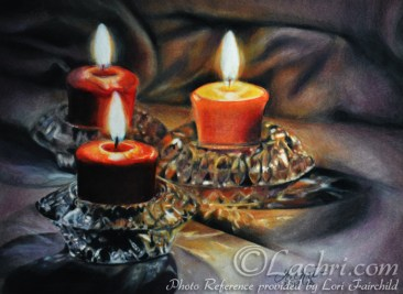 candles in colored pencil