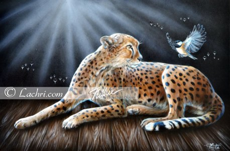 Cheetah and chickadee oil over acrylic painting