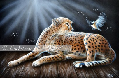 Cheetah and chickadee oil over acrylic painting