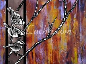chickadee pop art acrylic painting