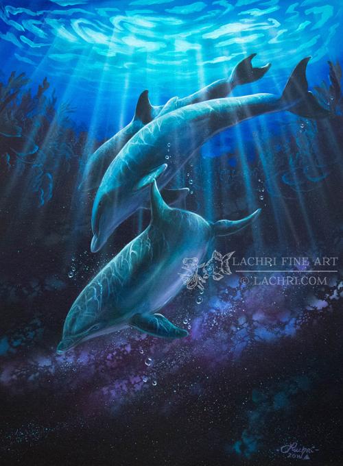 Dolphin acrylic painting