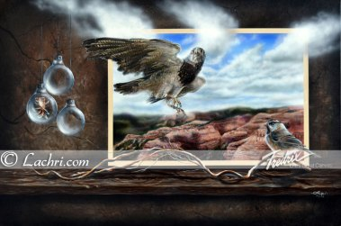 surreal hawk and grand canyon acrylic painting