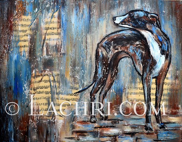 Italian greyhound mixed media painting