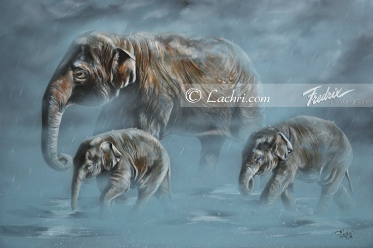 Asian elephants acrylic painting
